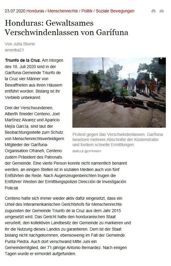 Honduras: Gewaltsames Verschwindenlassen von Garífuna - amerika21 - Nachrichten und Analysen aus Lateinamerika - 23.07.2020