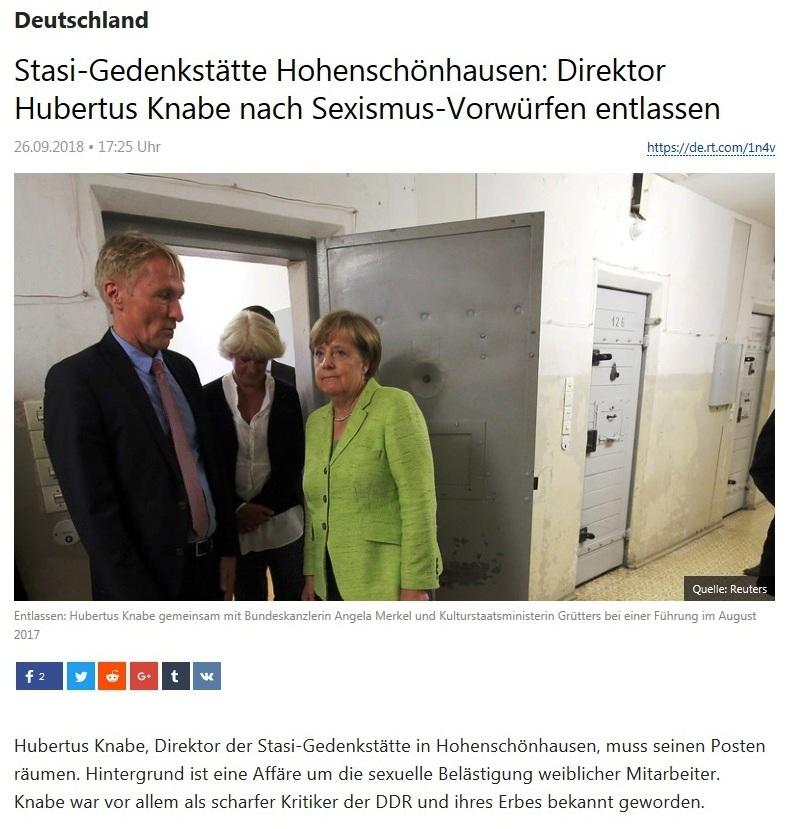 Deutschland - Stasi-Gedenkstätte Hohenschönhausen: Direktor Hubertus Knabe nach Sexismus-Vorwürfen entlassen