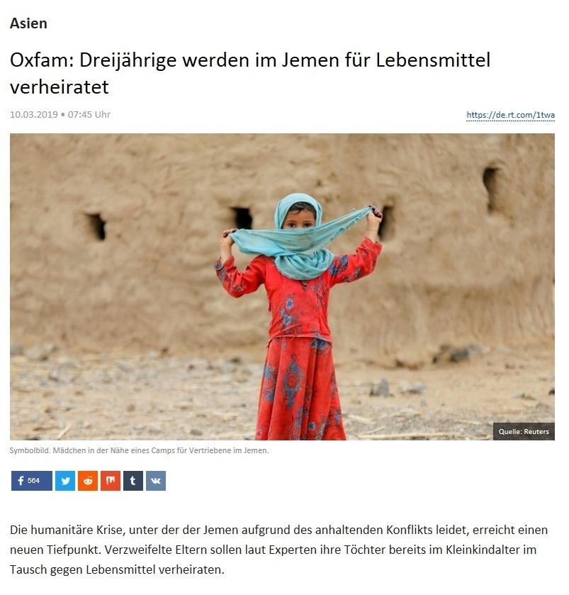 Asien - Oxfam: Dreijährige werden im Jemen für Lebensmittel verheiratet