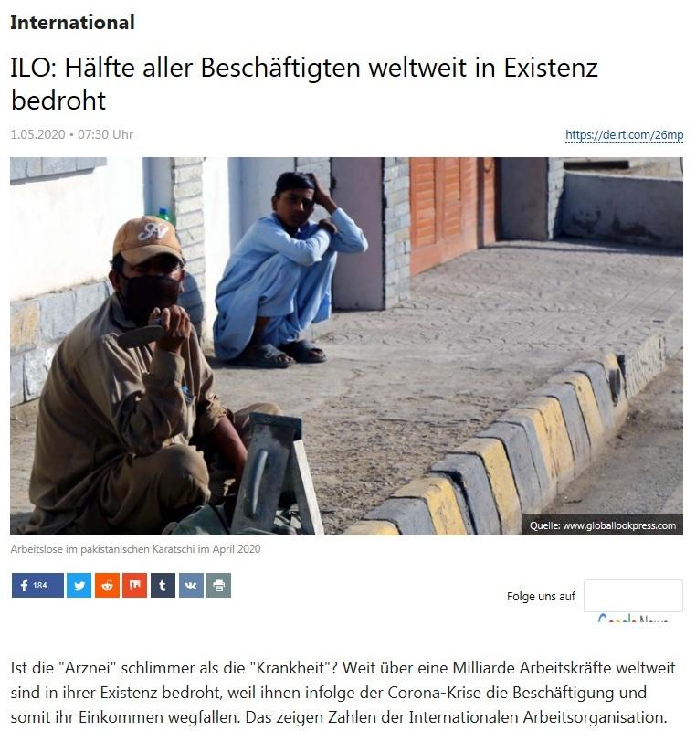 International - ILO: Hälfte aller Beschäftigten weltweit in Existenz bedroht - RT Deutsch - 01.05.2020