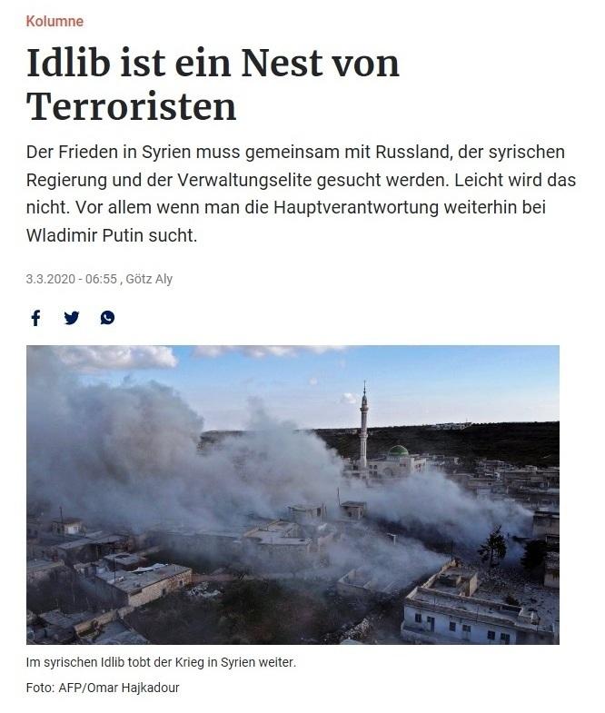 Idlib ist ein Nest von Terroristen - Kolumne von Götz Aly - Berliner Zeitung - 3.März 2020