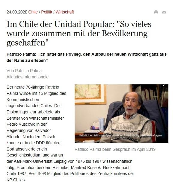 Im Chile der Unidad Popular: 'So vieles wurde zusammen mit der Bevölkerung geschaffen' - Patricio Palma: 'Ich hatte das Privileg, den Aufbau der neuen Wirtschaft ganz aus der Nähe zu erleben
