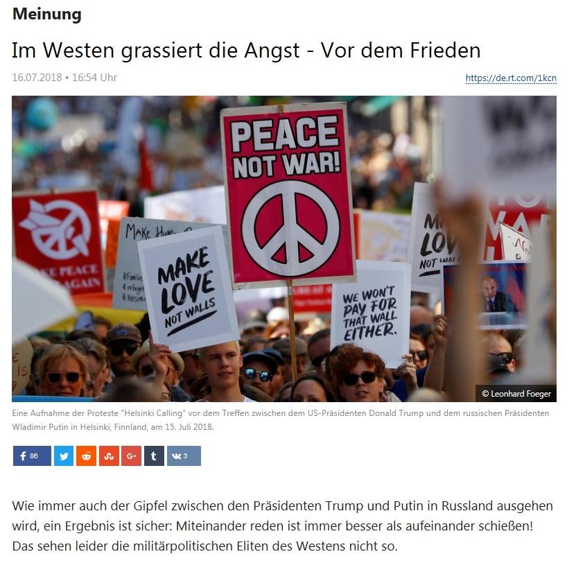 Meinung - Im Westen grassiert die Angst - Vor dem Frieden - Von Rainer Rupp