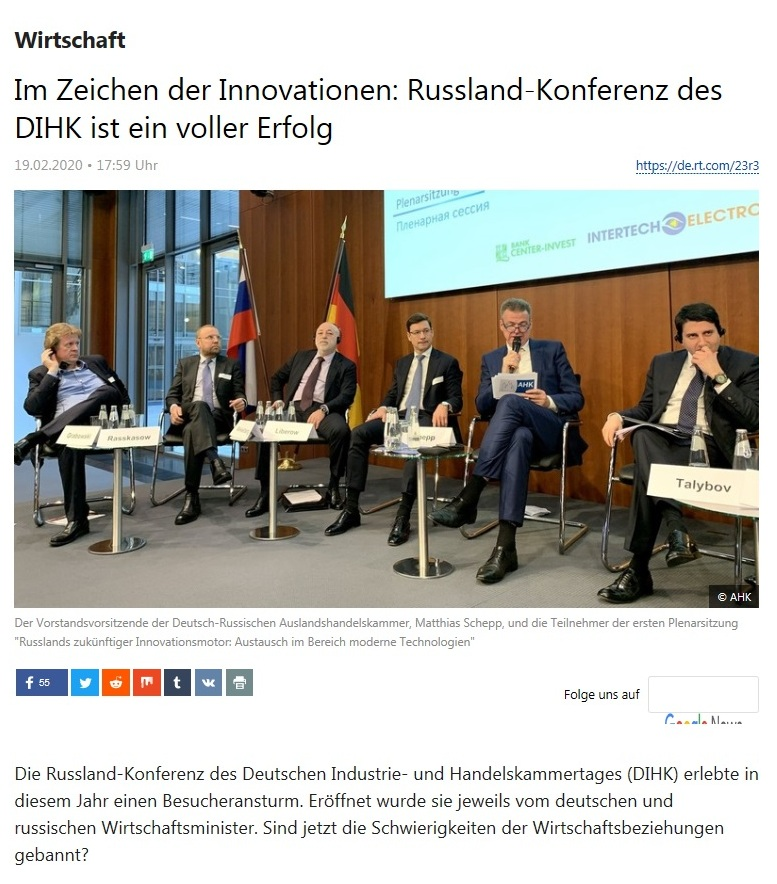 Wirtschaft - Im Zeichen der Innovationen: Russland-Konferenz des DIHK ist ein voller Erfolg