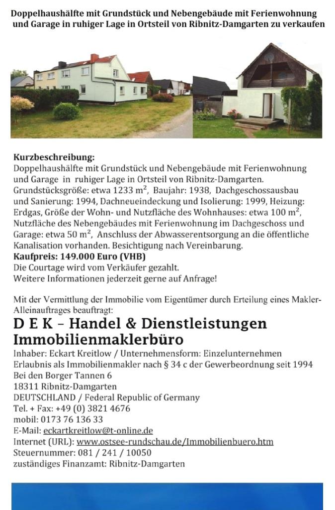 Doppelhaushälfte mit Grundstück  in ruhiger Lage in Ortsteil von Ribnitz-Damgarten  zu verkaufen