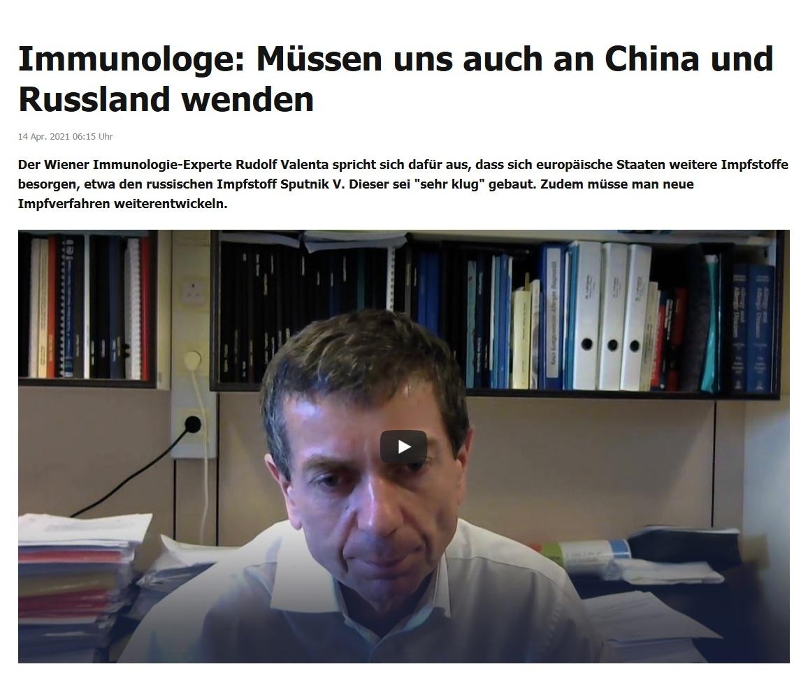 Immunologe: Müssen uns auch an China und Russland wenden -  RT DE - 14 Apr. 2021 06:15 Uhr