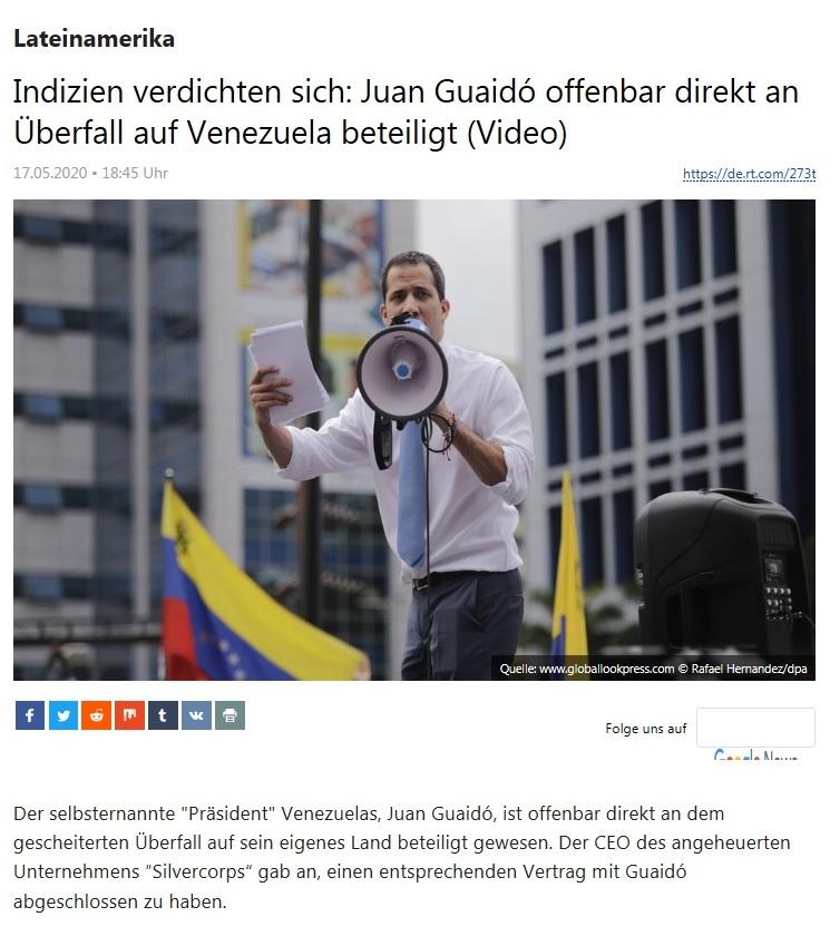 Lateinamerika - Indizien verdichten sich: Juan Guaidó offenbar direkt an Überfall auf Venezuela beteiligt (Video) - RT Deutsch - 17.05.2020