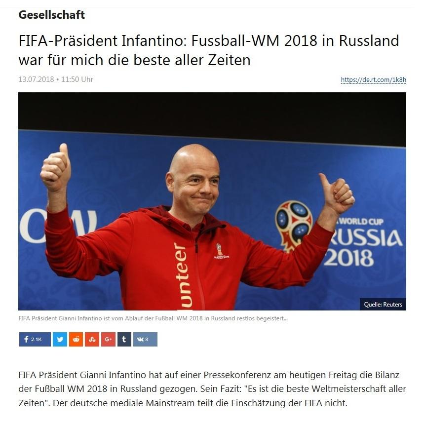 Gesellschaft - FIFA-Präsident Infantino: Fussball-WM 2018 in Russland war für mich die beste aller Zeiten