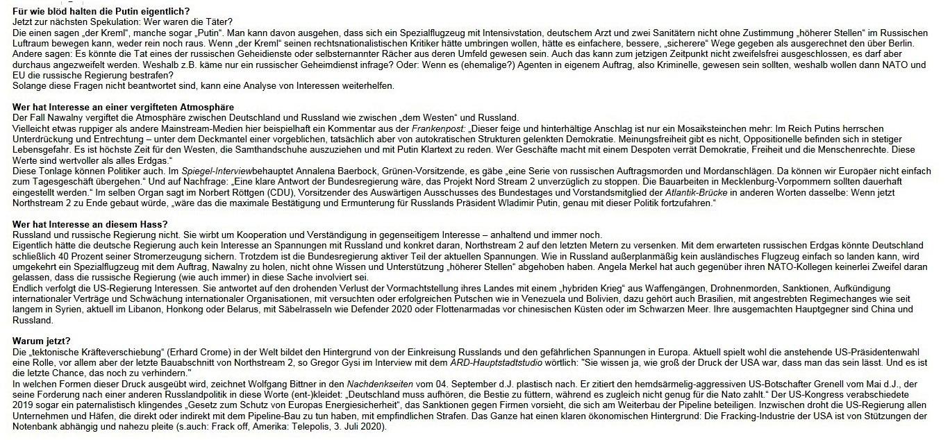 Aus dem Posteingang von Waltraud Tegge - WG: Infobrief von Wolfgang Gehrcke - Ça ira Nr. 182: (Wirtschafts-)Krieg gegen Russland – Nawalny, NATO, Northstream (6.9.2020)