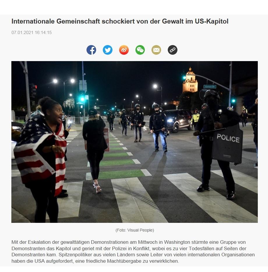 Internationale Gemeinschaft schockiert von der Gewalt im US-Kapitol - CRI online Deutsch - 07.01.2021 16:14:15