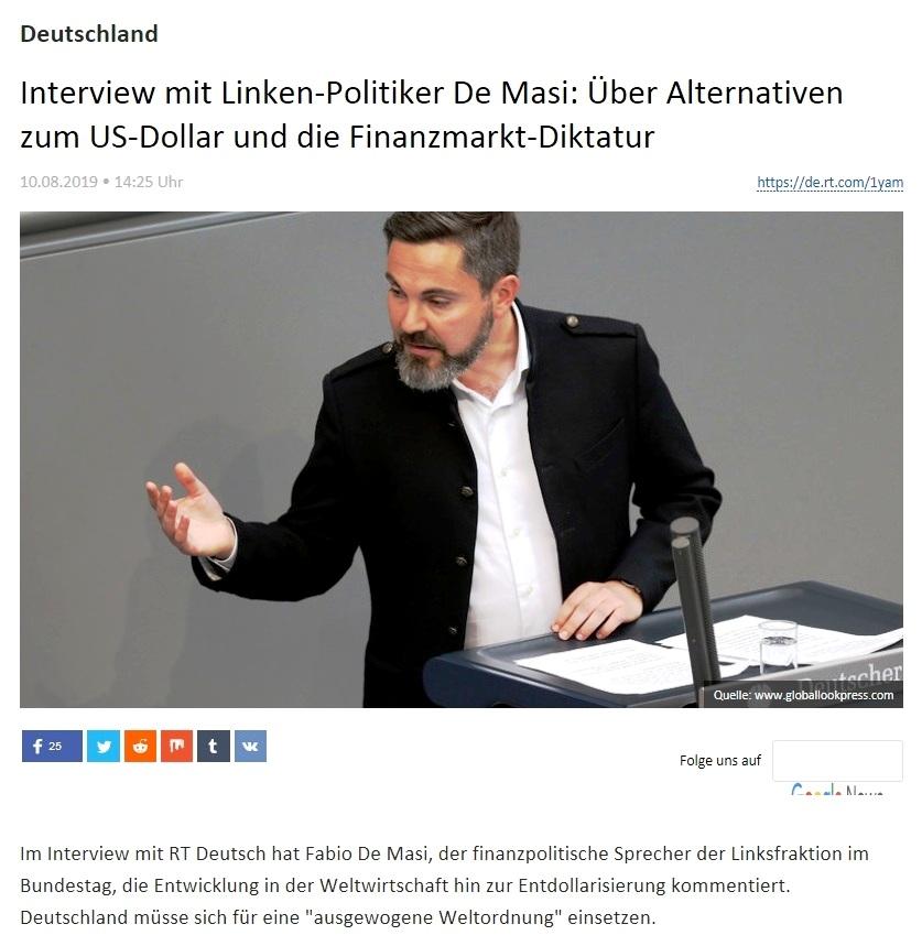 Deutschland - Interview mit Linken-Politiker De Masi: Über Alternativen zum US-Dollar und die Finanzmarkt-Diktatur