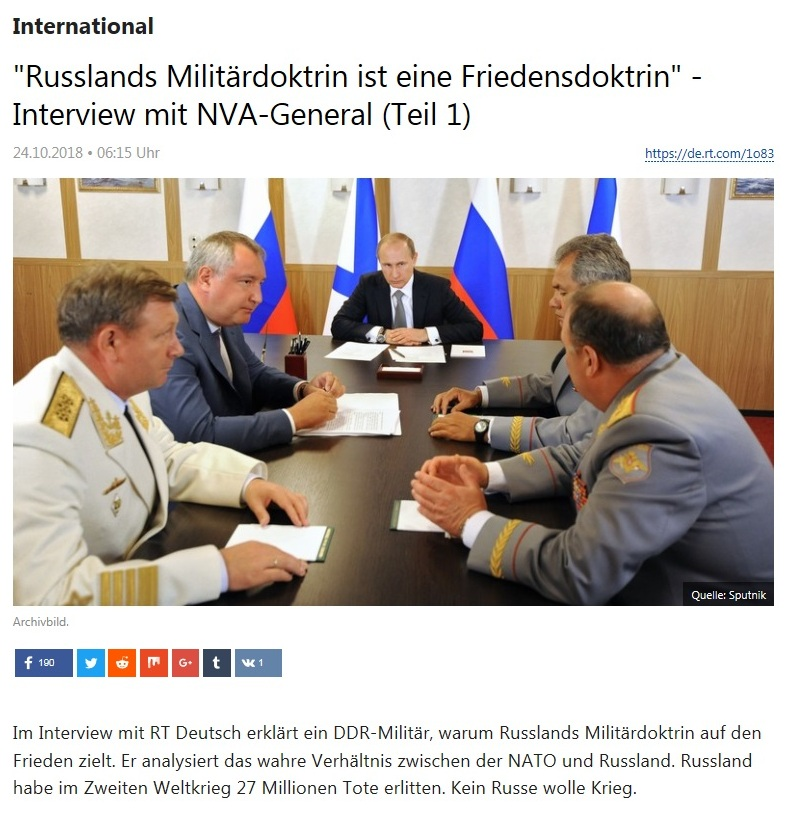 International - 'Russlands Militärdoktrin ist eine Friedensdoktrin' - Interview mit NVA-General (Teil 1)