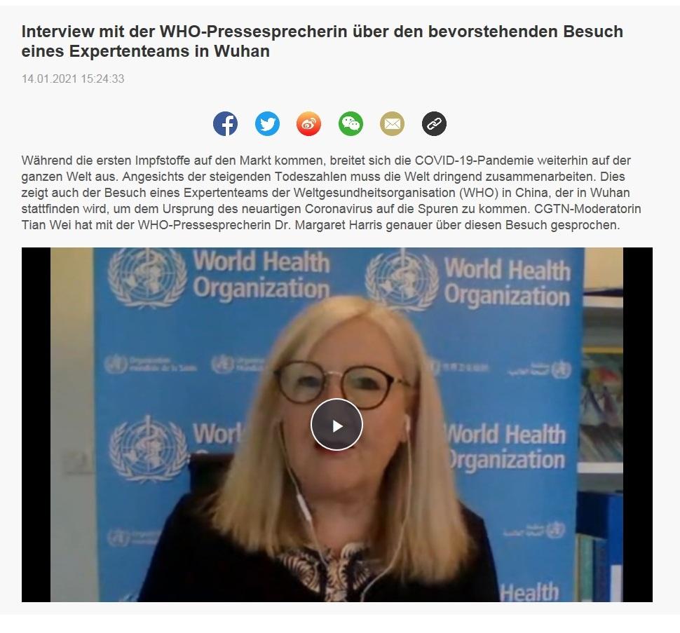 Interview mit der WHO-Pressesprecherin über den bevorstehenden Besuch eines Expertenteams in Wuhan - CRI online Deutsch - 14.01.2021 15:24:33