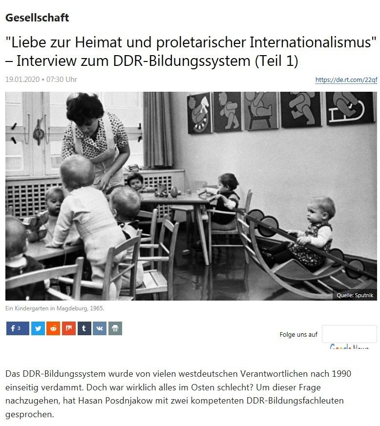 Gesellschaft - 'Liebe zur Heimat und proletarischer Internationalismus' – Interview zum DDR-Bildungssystem (Teil 1)