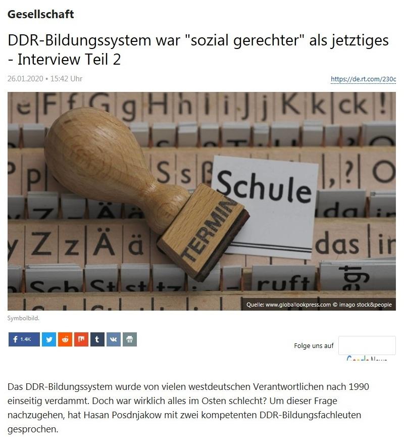 Gesellschaft - DDR-Bildungssystem war 'sozial gerechter' als jetztiges - Interview Teil 2