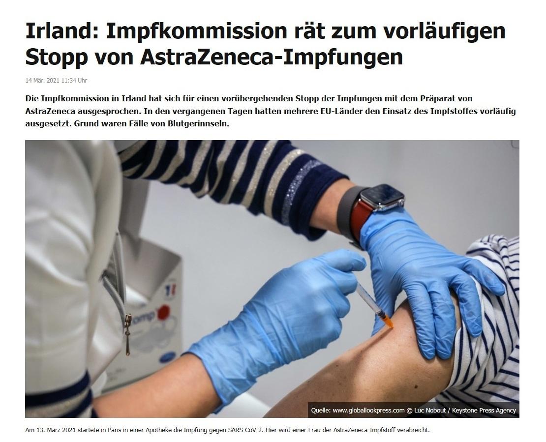 Irland: Impfkommission rät zum vorläufigen Stopp von AstraZeneca-Impfungen - RT DE - 14 Mär. 2021 11:34 Uhr