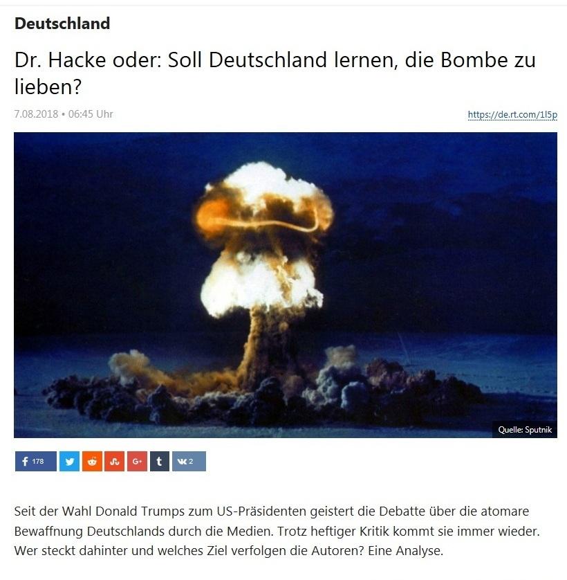 Deutschland - Dr. Hacke oder: Soll Deutschland lernen, die Bombe zu lieben?