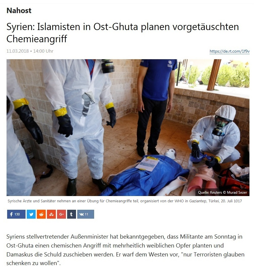 Nahost - Syrien: Islamisten in Ost-Ghuta planen vorgetäuschten Chemieangriff
