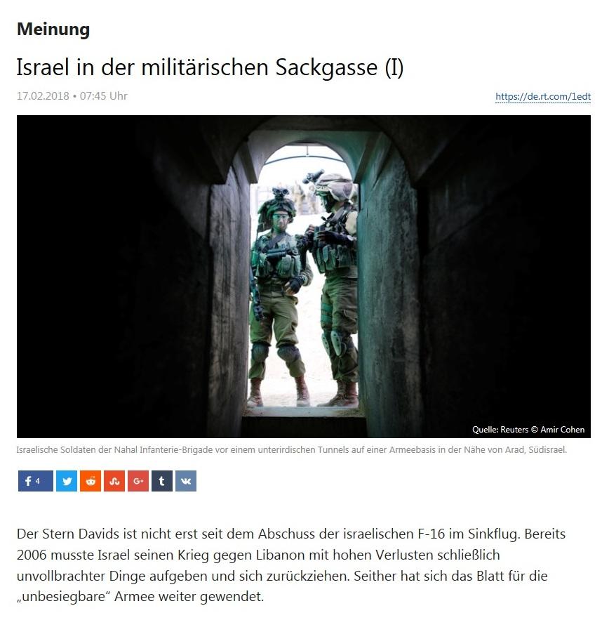 Israel in militärischer Sackgasse - Teil I - von Rainer Rupp