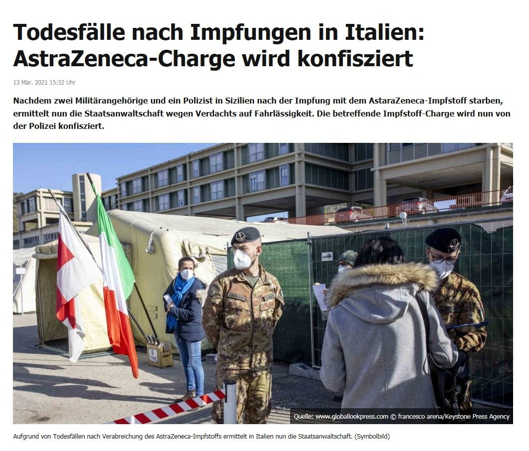 Todesfälle nach Impfungen in Italien: AstraZeneca-Charge wird konfisziert - RT DE - 13 Mär. 2021 15:32 Uhr
