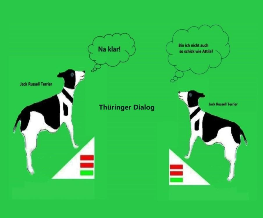 Jack Russell Terrier Geschichten aus Thüringen mit Jack Russell Terrier Attila in der Hauptrolle - Thüringer Dialog der Jack Russell Terrier | Übrigens privat soll Thüringens Ministerpräsident Bodo Ramelow einen Jack Russel Terrier besitzen, der auf den Namen Attila hören soll.