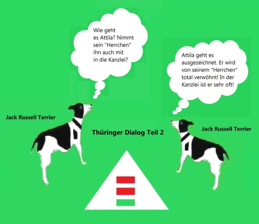 Jack Russell Terrier Geschichten aus Thüringen mit Jack Russell Terrier Attila in der Hauptrolle - Thüringer Dialog der Jack Russell Terrier Teil 2 | Übrigens privat soll Thüringens Ministerpräsident Bodo Ramelow einen Jack Russel Terrier besitzen, der auf den Namen Attila hören soll.