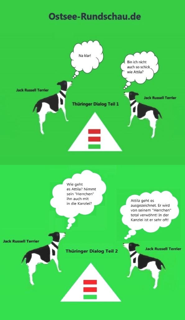 Jack Russell Terrier Geschichten aus Thüringen mit Jack Russell Terrier Attila in der Hauptrolle - Thüringer Dialog der Jack Russell Terrier Teil 1 und 2 | Übrigens privat soll Thüringens Ministerpräsident Bodo Ramelow einen Jack Russel Terrier besitzen, der auf den Namen Attila hören soll.