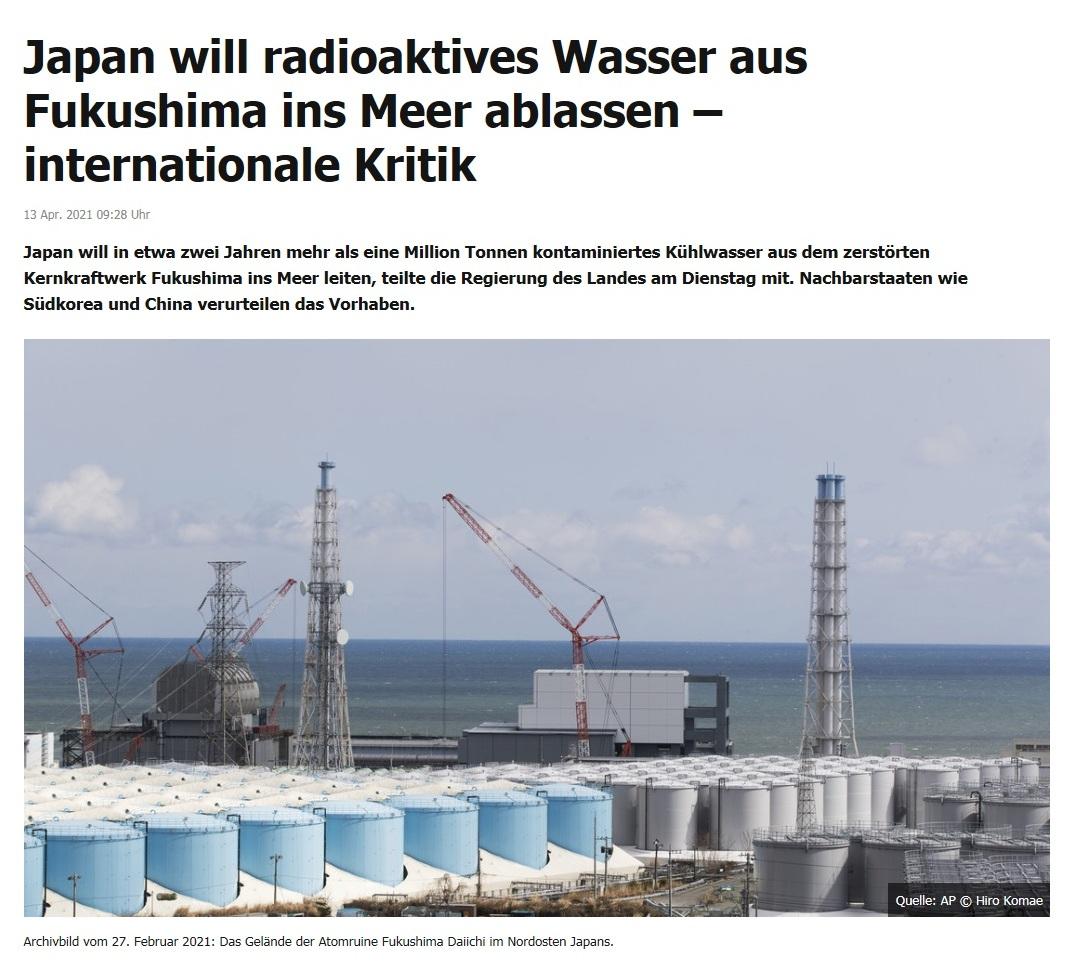 Japan will radioaktives Wasser aus Fukushima ins Meer ablassen – internationale Kritik -  RT DE -  13 Apr. 2021 09:28 Uhr