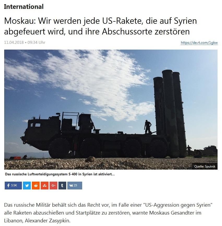 International - Moskau: Wir werden jede US-Rakete, die auf Syrien abgefeuert wird, und ihre Abschussorte zerstören