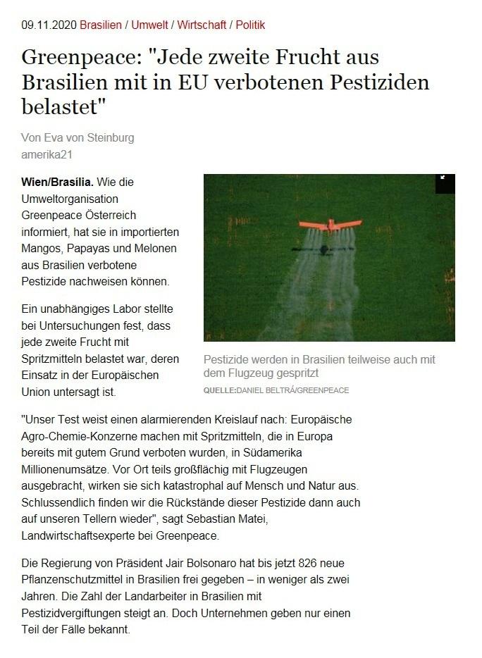 Greenpeace: 'Jede zweite Frucht aus Brasilien mit in EU verbotenen Pestiziden belastet' - Von Eva von Steinburg - amerika21 - Nachrichten und Analysen aus Lateinamerika - 09.11.2020