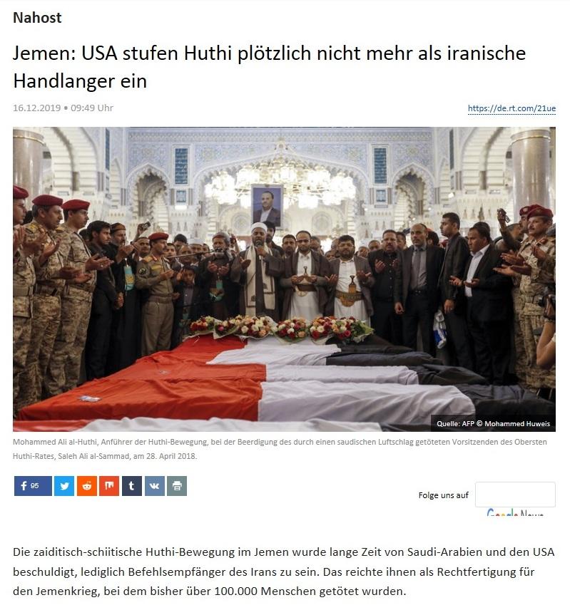 Nahost - Jemen: USA stufen Huthi plötzlich nicht mehr als iranische Handlanger ein