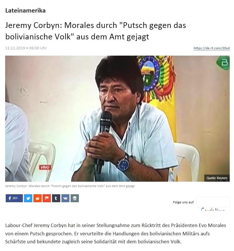 Lateinamerika - Jeremy Corbyn: Morales durch 'Putsch gegen das bolivianische Volk' aus dem Amt gejagt