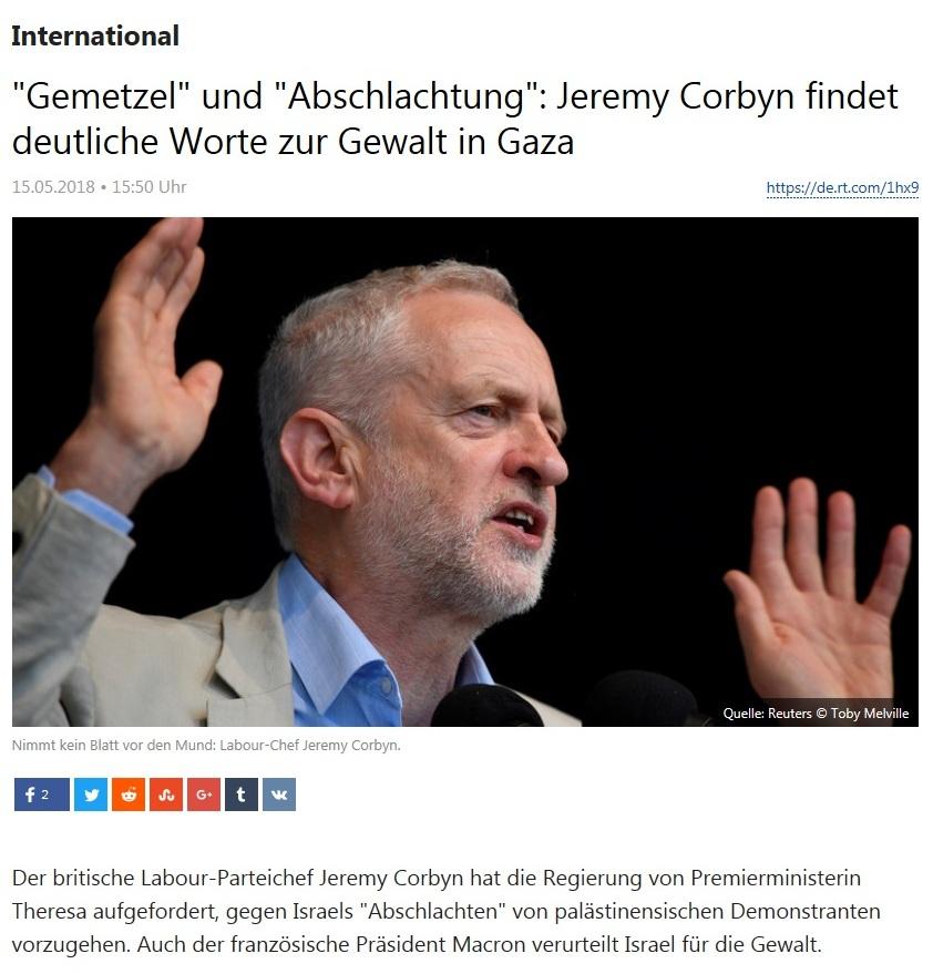 International - 'Gemetzel' und 'Abschlachtung': Jeremy Corbyn findet deutliche Worte zur Gewalt in Gaza