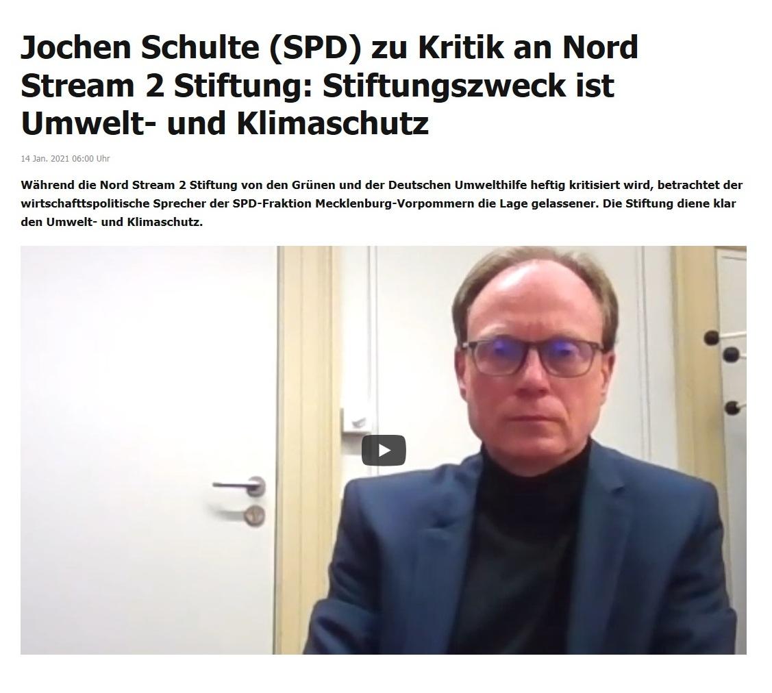 Jochen Schulte (SPD) zu Kritik an Nord Stream 2 Stiftung: Stiftungszweck ist Umwelt- und Klimaschutz - RT DE -  14 Jan. 2021 06:00 Uhr