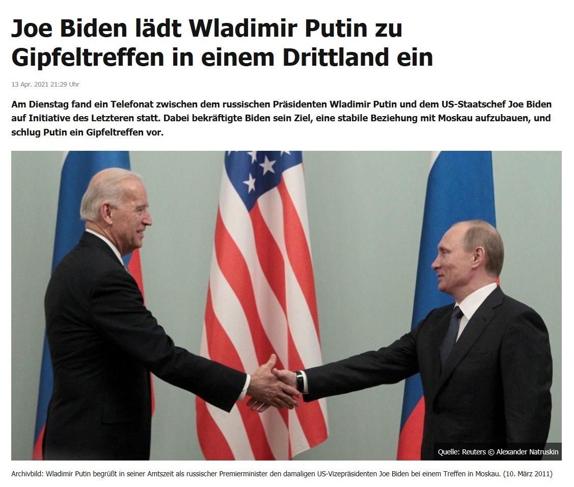 Joe Biden lädt Wladimir Putin zu Gipfeltreffen in einem Drittland ein -  RT DE - 13 Apr. 2021 21:29 Uhr