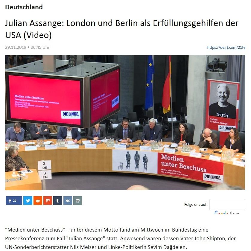 Deutschland -  Julian Assange: London und Berlin als Erfüllungsgehilfen der USA (Video)