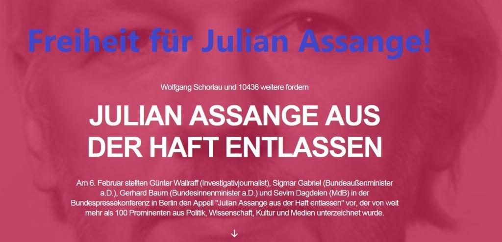 Freiheit für Julian Assange! - Julian Assange freilassen - Bitte setzt Euch mit Eurer Unterschrift ebenfalls dafür ein!