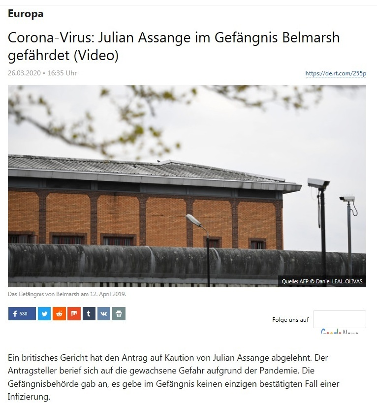 Europa - Corona-Virus: Julian Assange im Gefängnis Belmarsh gefährdet (Video) - RT Deutsch - 26.03.2020