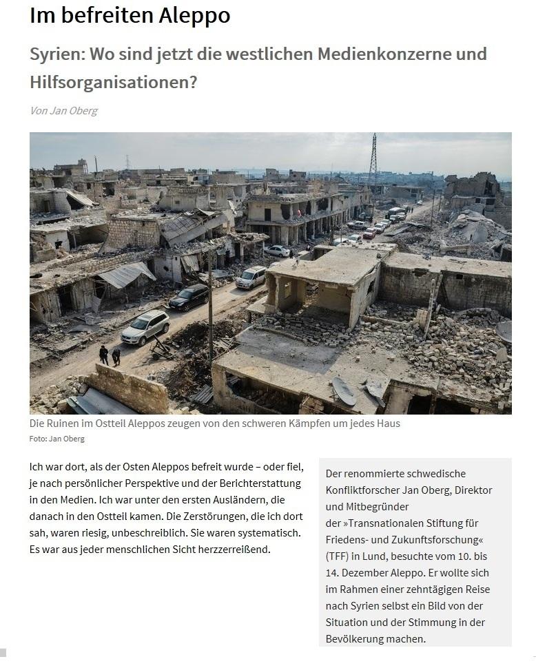 Im befreiten Aleppo in Syrien - Beitrag in der Tageszeitung Junge Welt - Ausgabe vom 19.01.2017