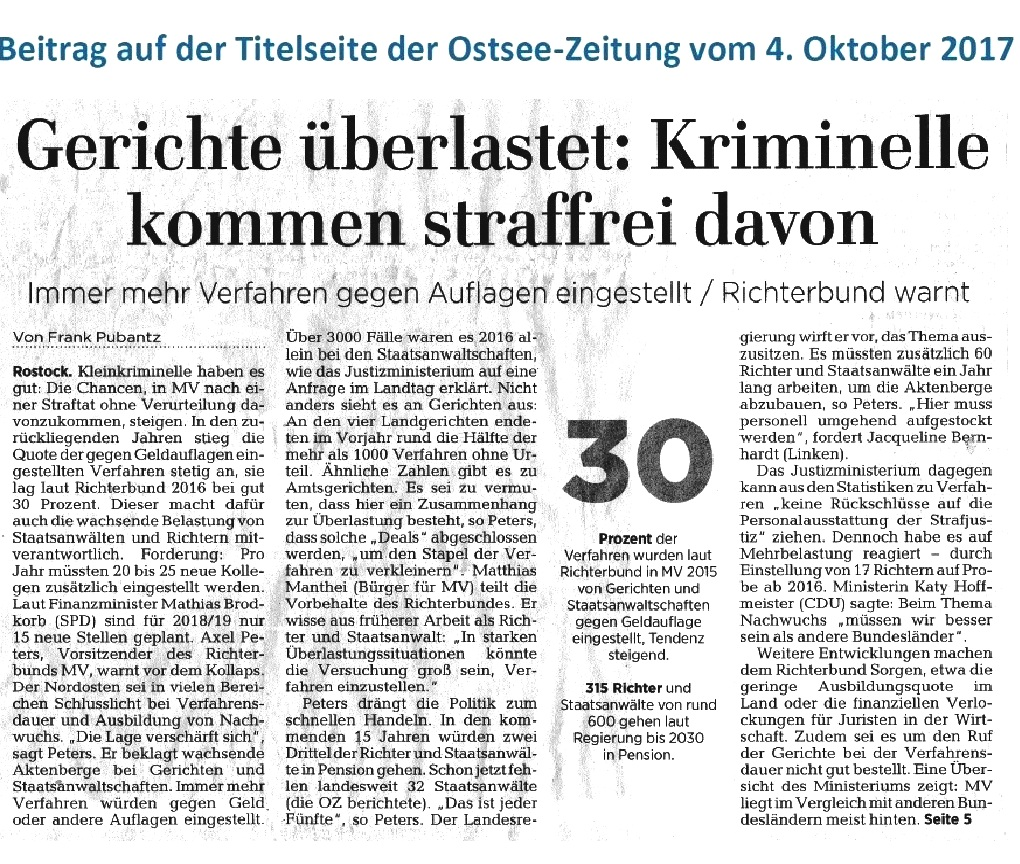 OZ-Beitrag: Gerichte überlastet: Kriminelle kommen straffrei davon - Beitrag auf der Titelseite der Ostsee-Zeitung vom 4.Oktober 2017 - Autor: Frank Pubantz