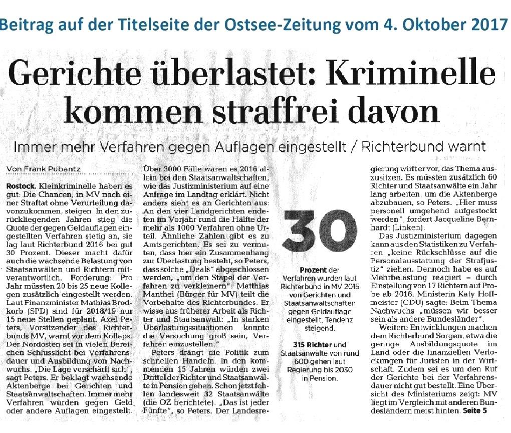 OZ-Beitrag: Gerichte überlastet: Kriminelle kommen straffrei davon - Beitrag auf der Titelseite der Ostsee-Zeitung vom 4.Oktober 2017 - Autor: Frank Pubantz