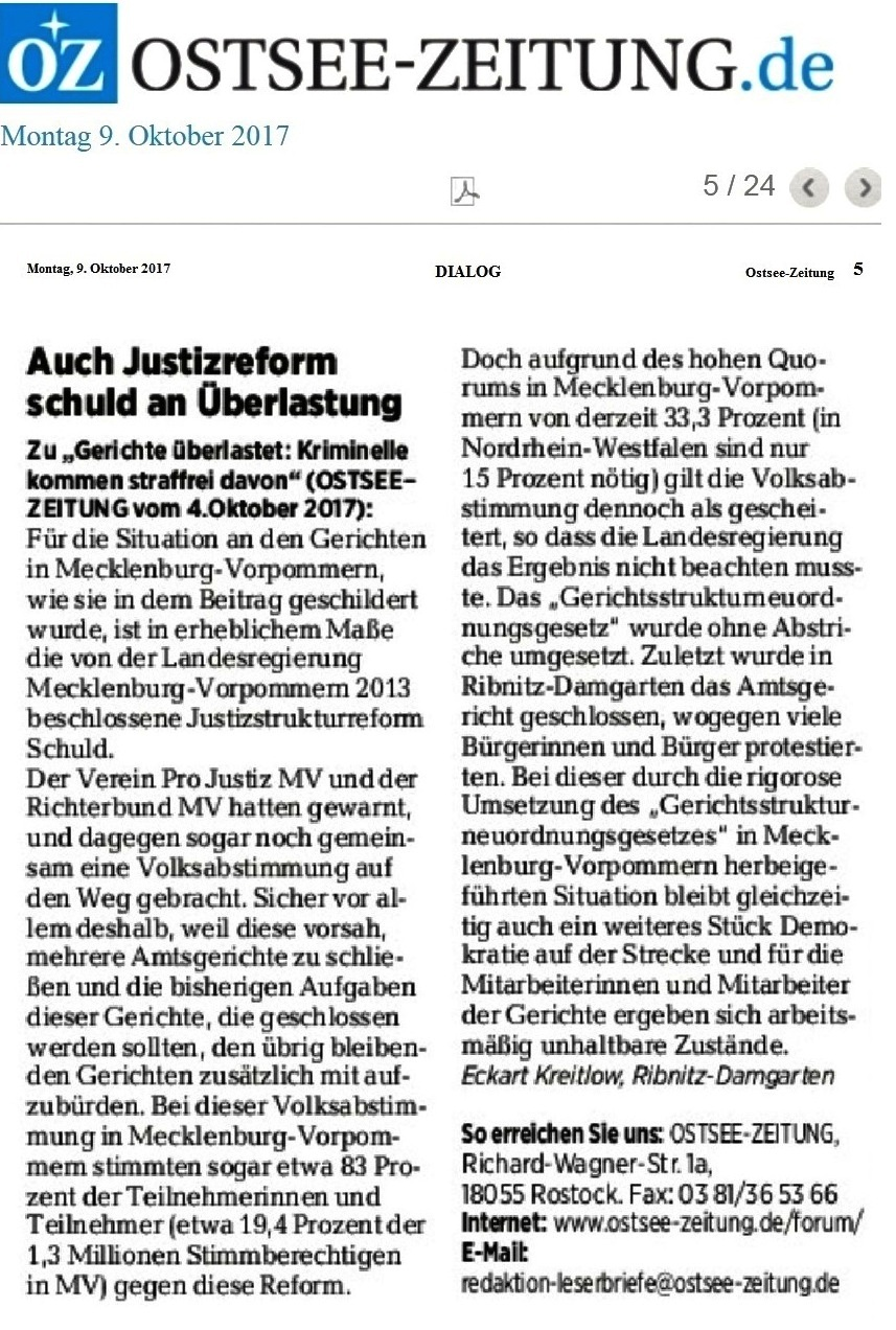 OZ-Leserbrief zur Justizstrukturreform in Mecklenburg-Vorpommern und zur Überlastung der Gerichte, was mit der Justizstrukturreform offensichtlich im Zusammenhang steht - veröffentlicht in der Ostsee-Zeitung am 9.Oktober 2017 auf Seite 5
