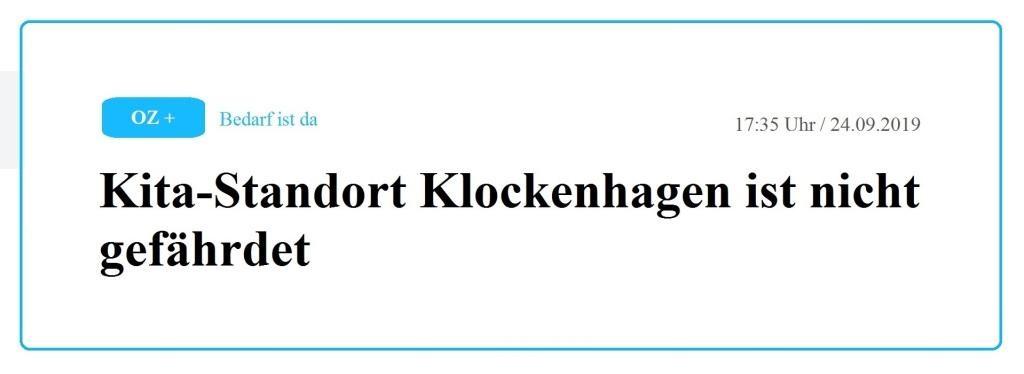 Ostsee-Zeitung / Vorpommern / Ribnitz-Damgarten / ASB und Stadt Ribnitz-Damgarten wollen Kita-Standort Klockenhagen stärken - Kita-Standort Klockenhagen ist nicht gefährdet - 17:35 Uhr / 24.09.2019