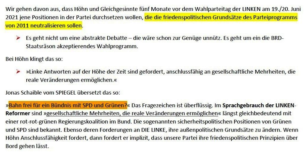 Matthias Höhn will eine andere Partei - Erklärung vom 21.01.2021 der Kommunistischen Plattform der Partei DIE LINKE zum Diskussionsangebot 'Linke Sicherheitspolitik' vom 17.01.2021 - Aus dem Posteingang von Siegfried Dienel vom 23.01.2021 - Abschnitt 2 von 7