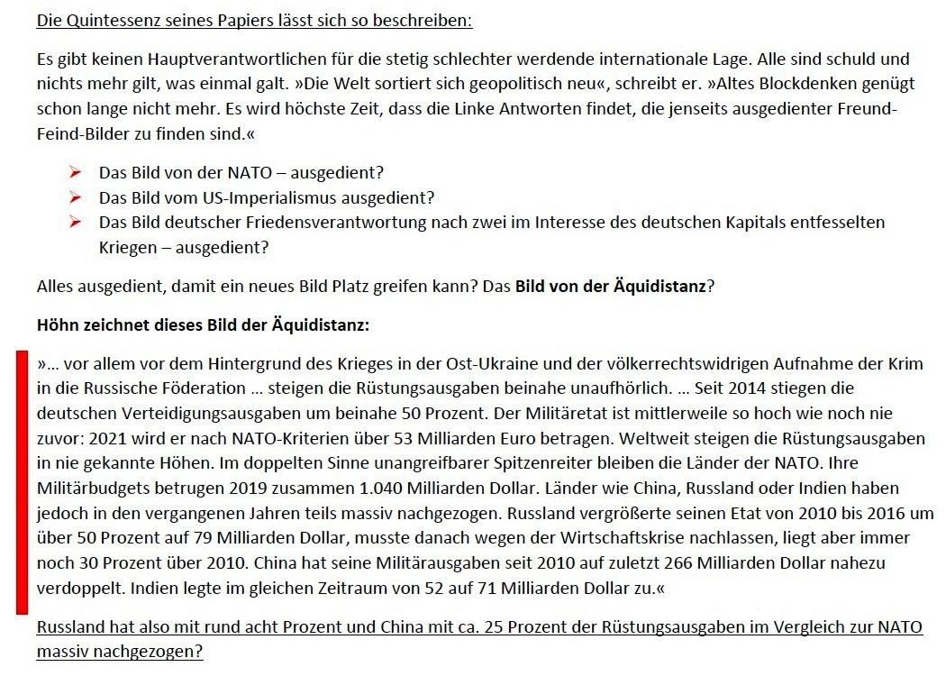 Matthias Höhn will eine andere Partei - Erklärung vom 21.01.2021 der Kommunistischen Plattform der Partei DIE LINKE zum Diskussionsangebot 'Linke Sicherheitspolitik' vom 17.01.2021 - Aus dem Posteingang von Siegfried Dienel vom 23.01.2021 - Abschnitt 3 von 7
