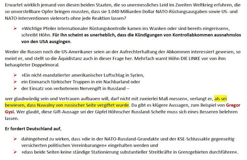 Matthias Höhn will eine andere Partei - Erklärung vom 21.01.2021 der Kommunistischen Plattform der Partei DIE LINKE zum Diskussionsangebot 'Linke Sicherheitspolitik' vom 17.01.2021 - Aus dem Posteingang von Siegfried Dienel vom 23.01.2021 - Abschnitt 4 von 7