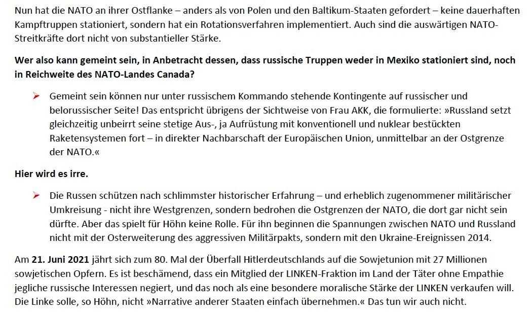 Matthias Höhn will eine andere Partei - Erklärung vom 21.01.2021 der Kommunistischen Plattform der Partei DIE LINKE zum Diskussionsangebot 'Linke Sicherheitspolitik' vom 17.01.2021 - Aus dem Posteingang von Siegfried Dienel vom 23.01.2021 - Abschnitt 5 von 7