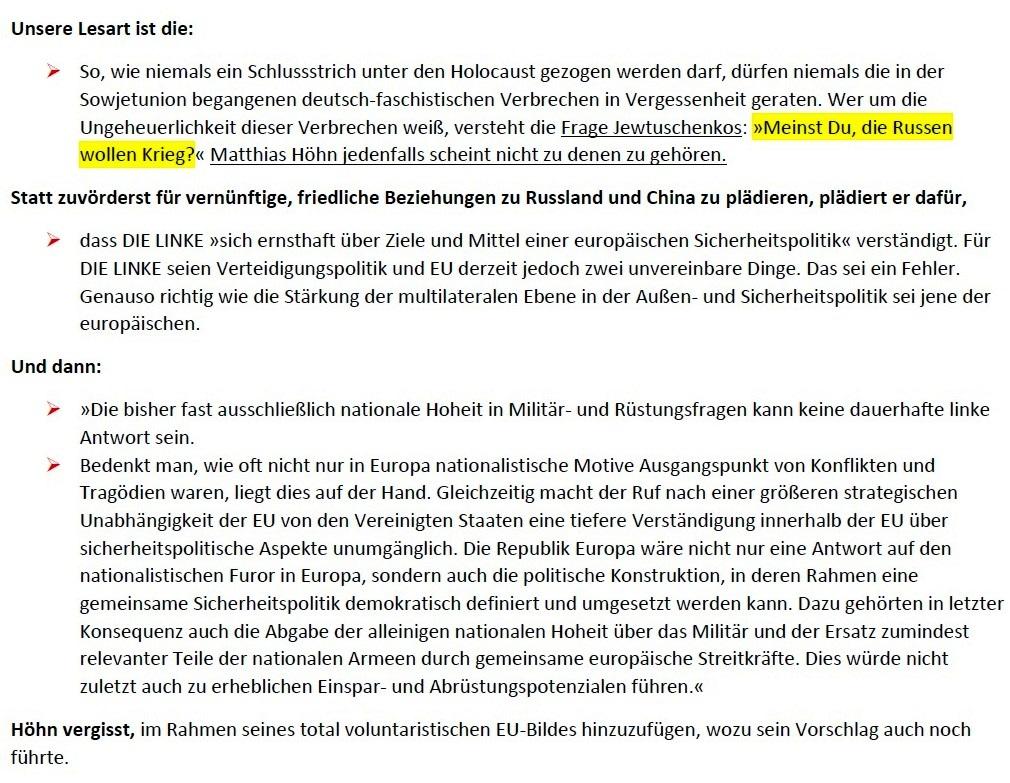 Matthias Höhn will eine andere Partei - Erklärung vom 21.01.2021 der Kommunistischen Plattform der Partei DIE LINKE zum Diskussionsangebot 'Linke Sicherheitspolitik' vom 17.01.2021 - Aus dem Posteingang von Siegfried Dienel vom 23.01.2021 - Abschnitt 6 von 7