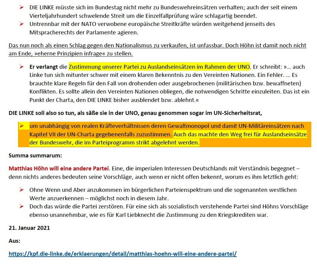 Matthias Höhn will eine andere Partei - Erklärung vom 21.01.2021 der Kommunistischen Plattform der Partei DIE LINKE zum Diskussionsangebot 'Linke Sicherheitspolitik' vom 17.01.2021 - Aus dem Posteingang von Siegfried Dienel vom 23.01.2021 - Abschnitt 7 von 7