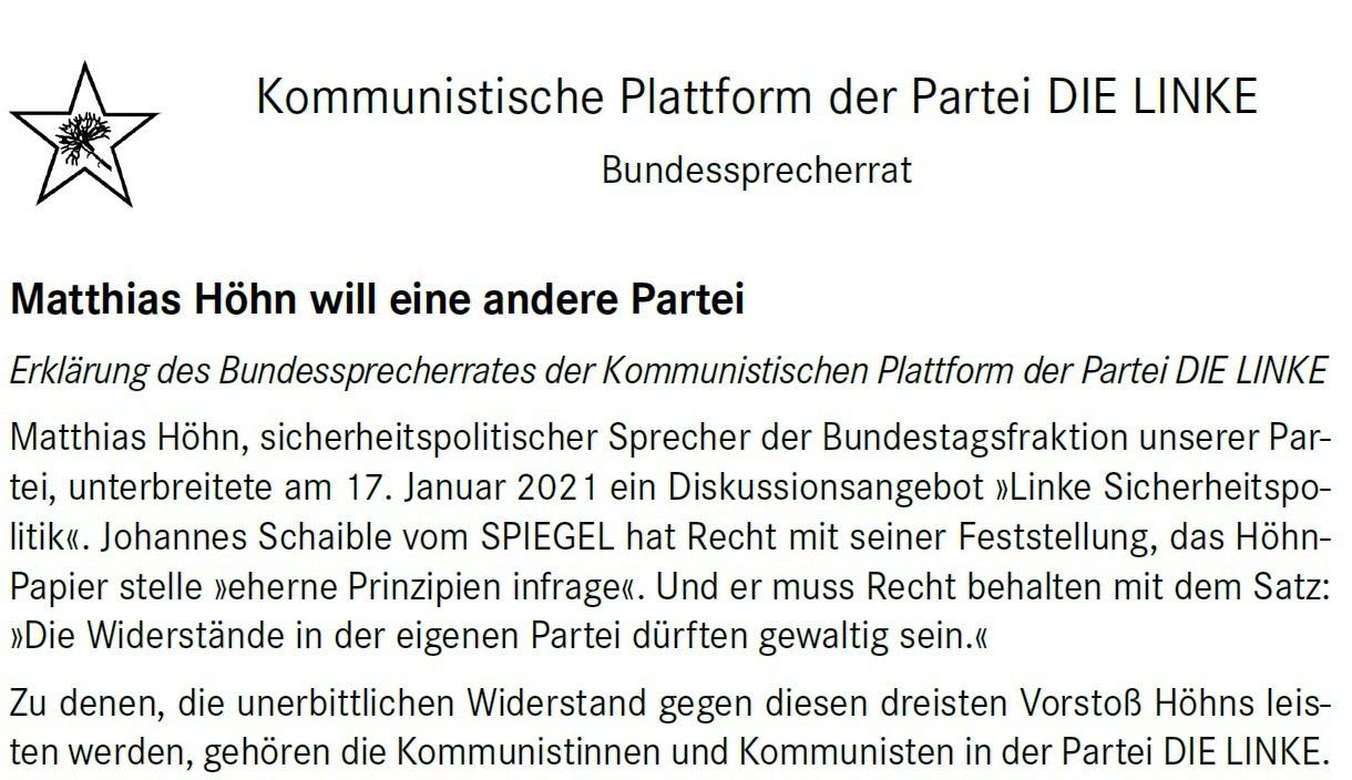 Aus dem Posteingang von Dr. Marianne Linke -  Stellungnahme der Kommunistische Plattform der Linkspartei zu dem Papier von Matthias Höhn - PDF - Abschnitt 1